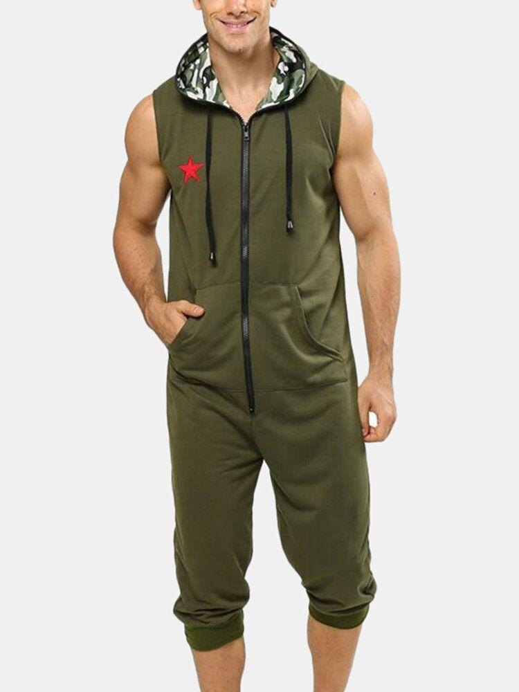 Men Casual Pentagram Embroidery Hooded Sleeveless Pocket Zipper Jumpsuit Sleepwear