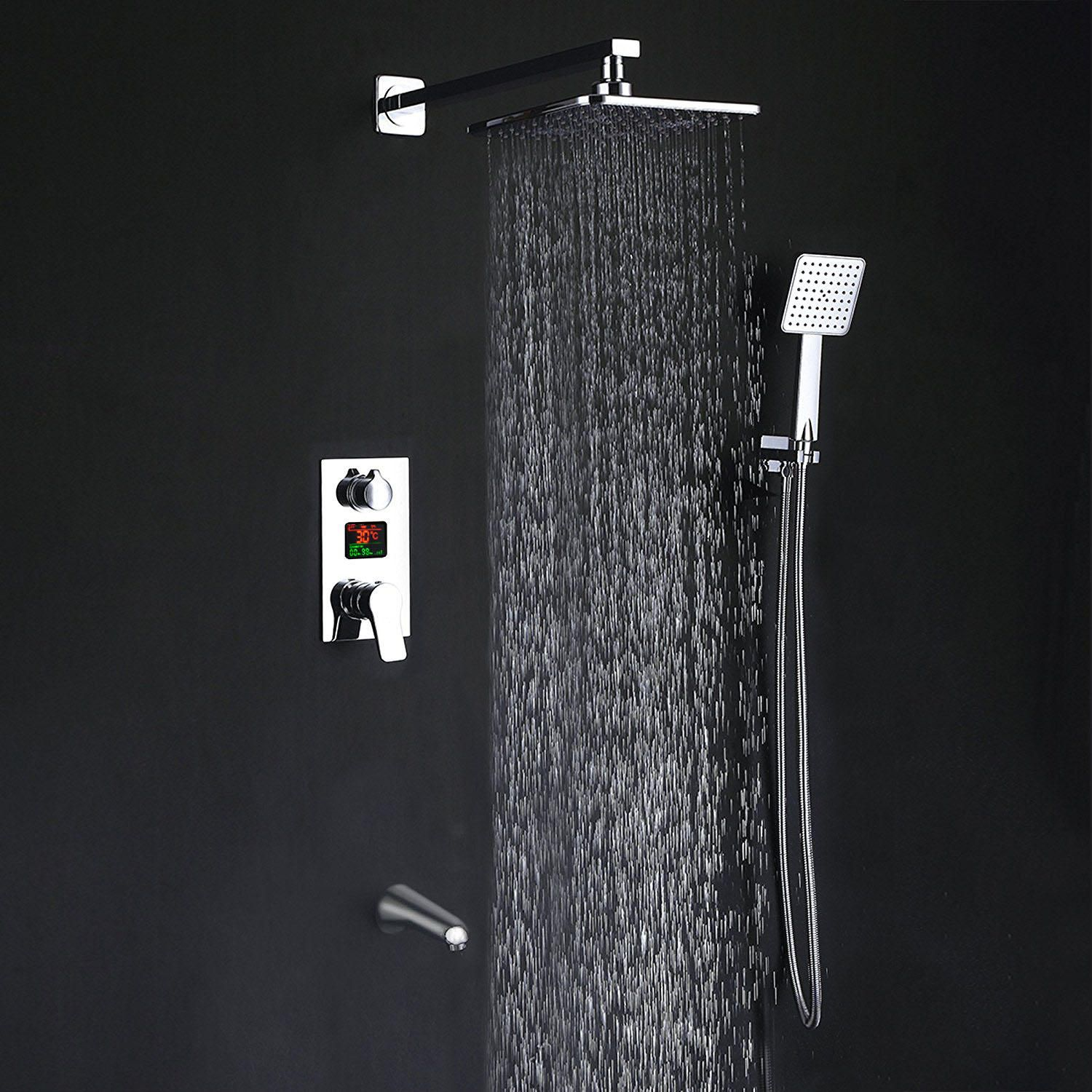 KCASA KC S100 LED Digital Display Wall Mount Bathroom Rain Mixer Shower Set Three Ways Shower System with Luxury Rainfall Shower Head Handheld Shower and Tub Spout Faucet