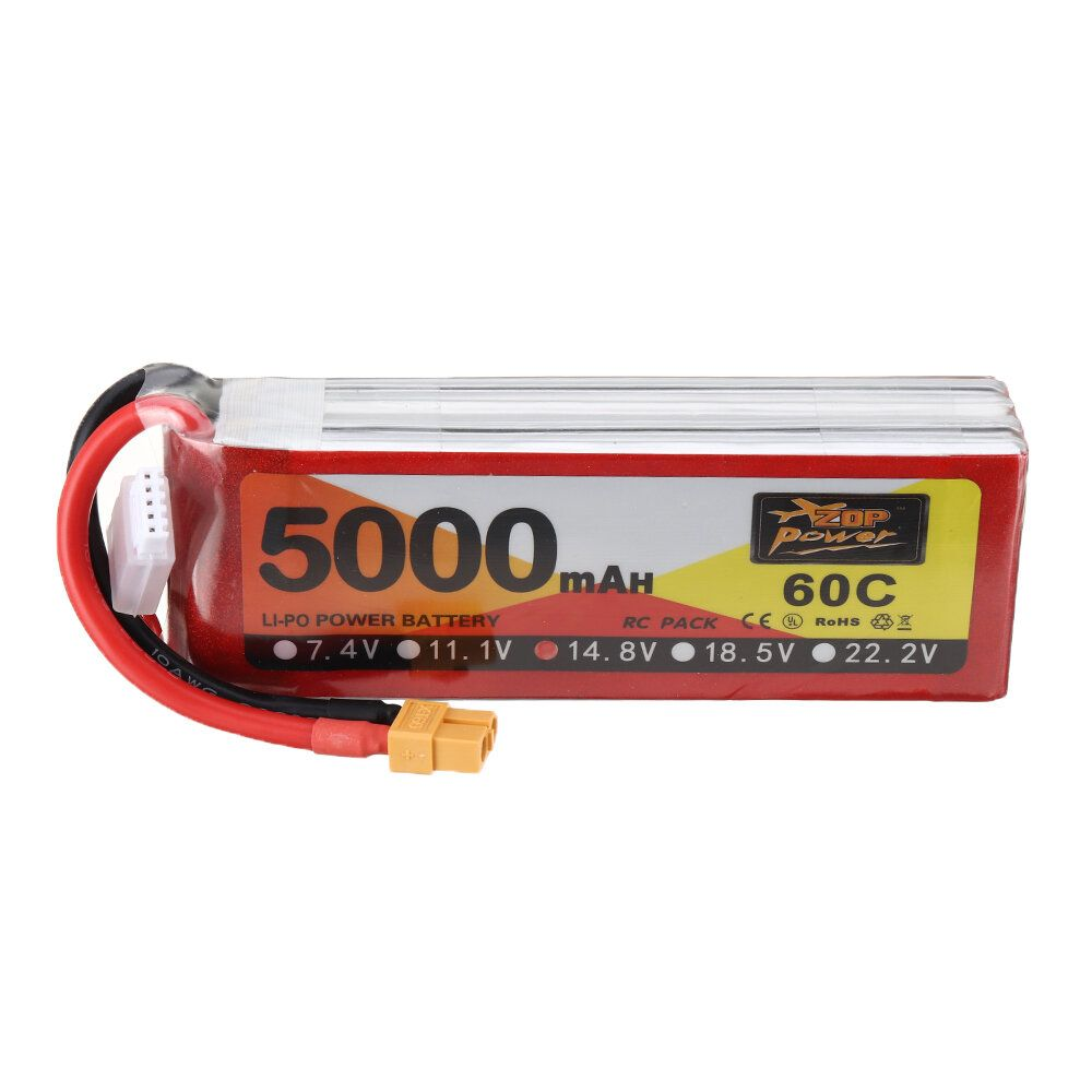 ZOP Power 14.8V 5000mAh 4S 60C Lipo Battery XT60 Plug for RC Drone