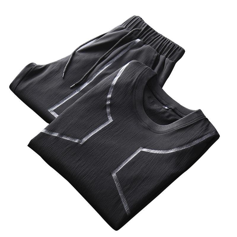 ZLP US$46.81 Men Sports Two Pieces Fitness Leisure Soft Slim Fit Quick-drying Short T-shirt Pants Hiking Suit