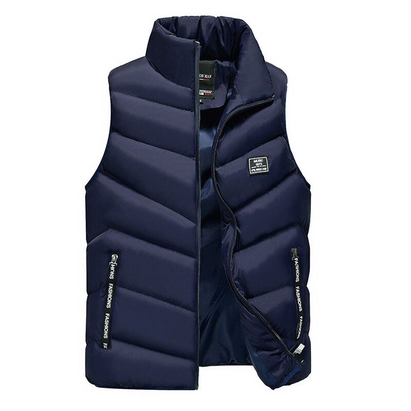 Mens Down Cotton Padded Stand Collar Casual Thick Vest Coats