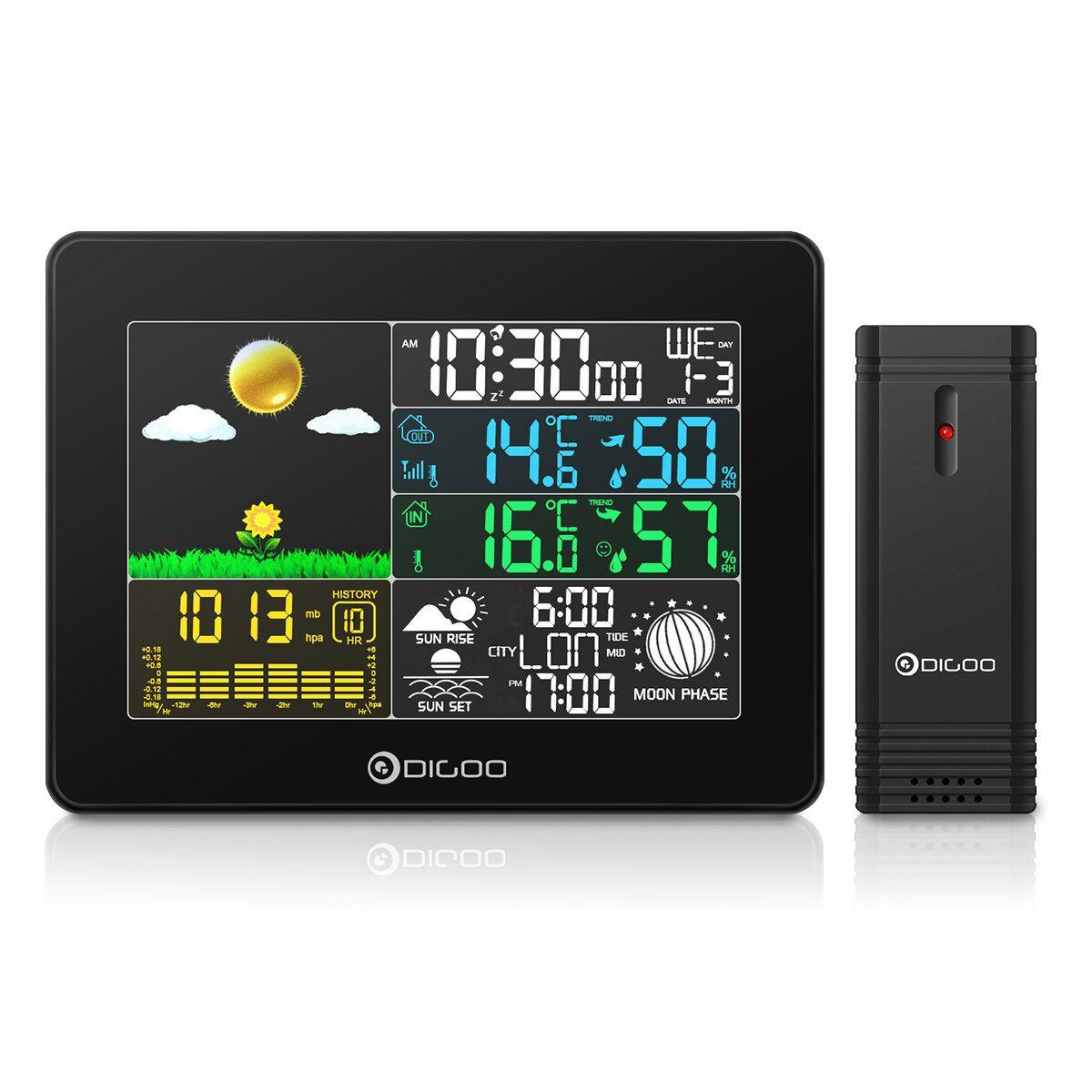 KEK US$28.27 DIGOO Wireless Full-Color Screen Digital USB Outdoor Barometric Pressure Weather Station Smart Home Hygrometer Thermometer Forecast Sensor