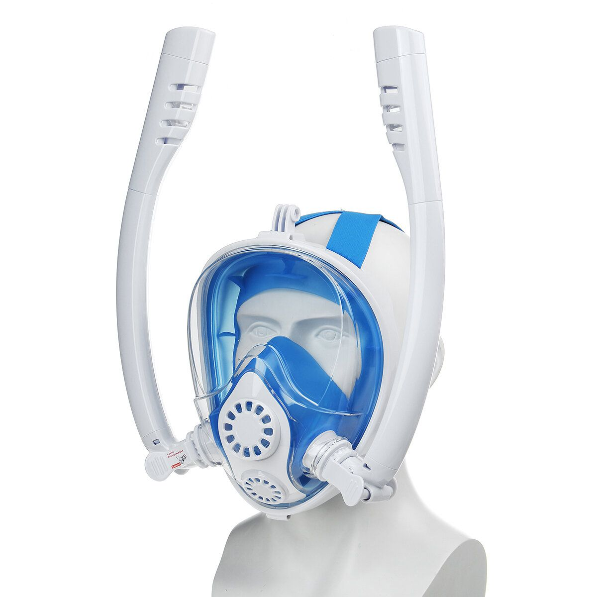 S/M/L/XL 180° Snorkeling Face Mask Dual Tube Silicone Anti fog Snorkel Mask