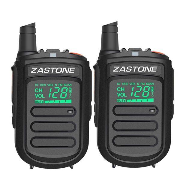 2Pcs Zastone mini9 Walkie Talkie UHF 400 470MHz Two Way Radio FM Transceiver Communicator Radio