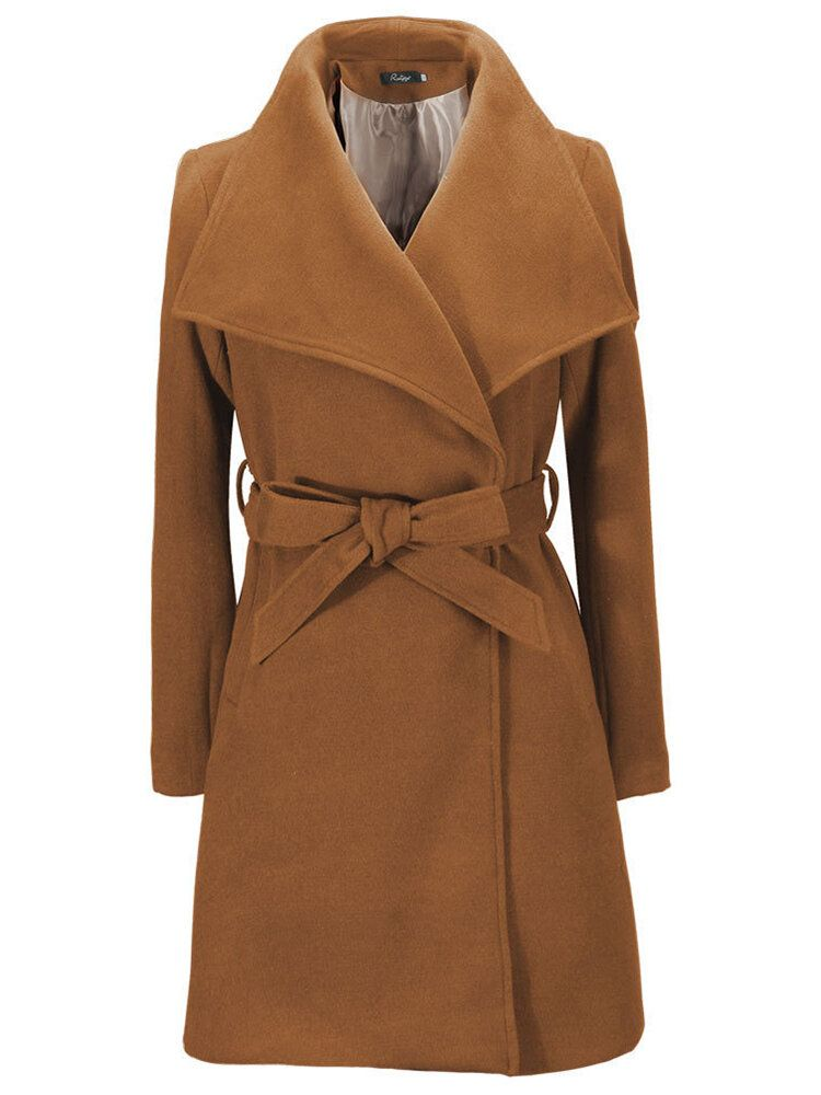 Pure Color Turn Down Collar Wool Coats