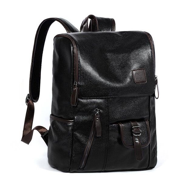 Men PU Leather Solid Vintage Large Capacity Backpack