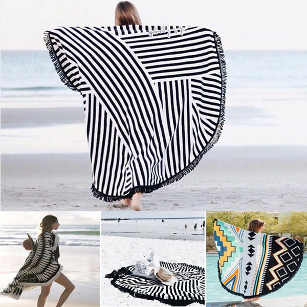 Honana WX 992 150cm Bohemian Style Thin Tassel Beach Towel Mandala Round Silk Scarf Bed Sheet Tapestry