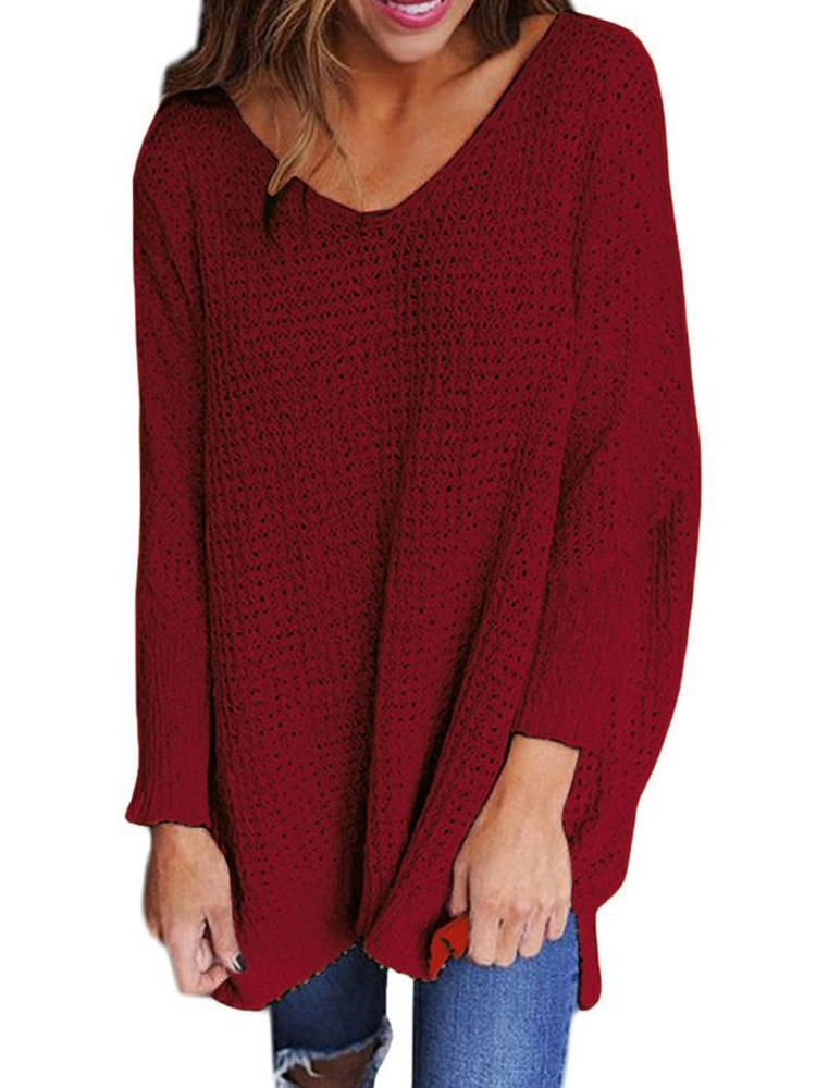 Plus Size Loose V neck Long Sleeve Pure Color Knit Sweaters