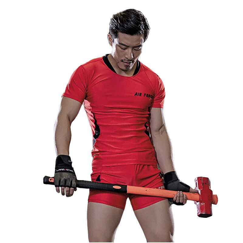 Mens Breathable Quick Drying Fitness Running Suits Elastic Workout Sportswear Gym Clothes