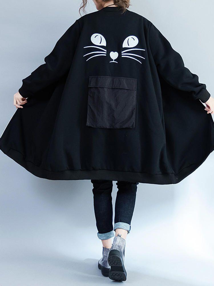 Plus Size Women Cat Embroidery Thick Sweatshirt