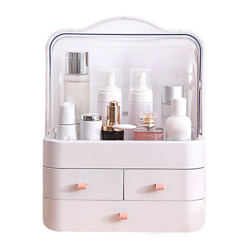 Transparent Cosmetic Organizer Creatives Makeup Storage Box Protable Desktop Organizer Drawer Storage Bins Waterproof Beauty Box