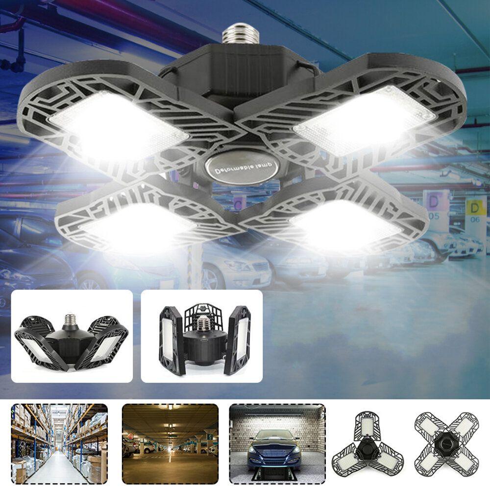 100W E27 LED Garage Light Bulb Deformable Foldable 4 Leaves Workshop Ceiling Lamp AC85 265V