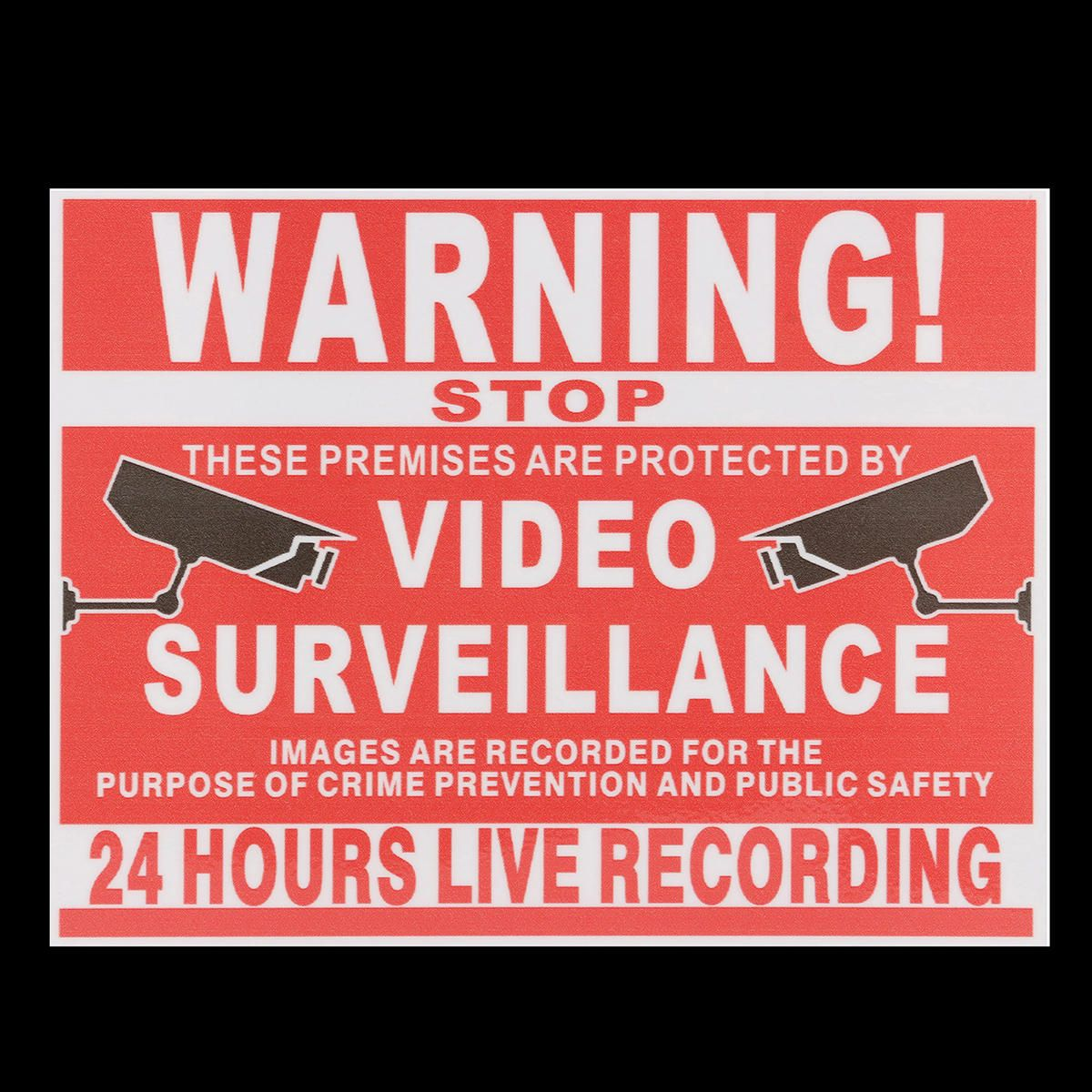 FZO US$1.72 Premises Projected By Video Surveillance CCTV Camera Recording Sign Safety Sticker