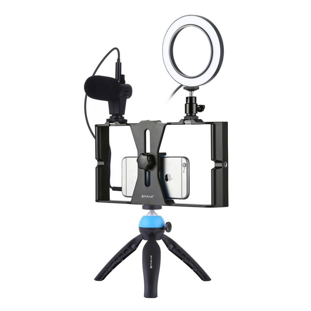 Puluz PKT3025 Rig Stabilizer Holder Vlog Video Ring Light Microphone for Smart Phone Photography