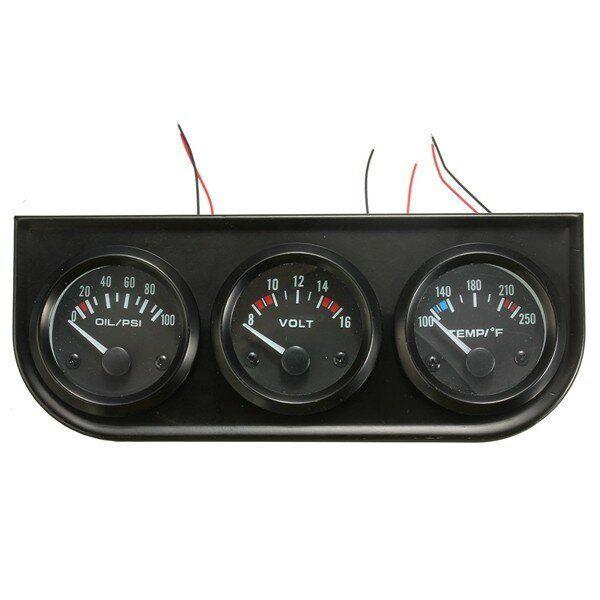 2 Inch 52mm Oil Pressure Volt Water Temp 3 Electronic Gauge Kits 8 16V LED Auto Car