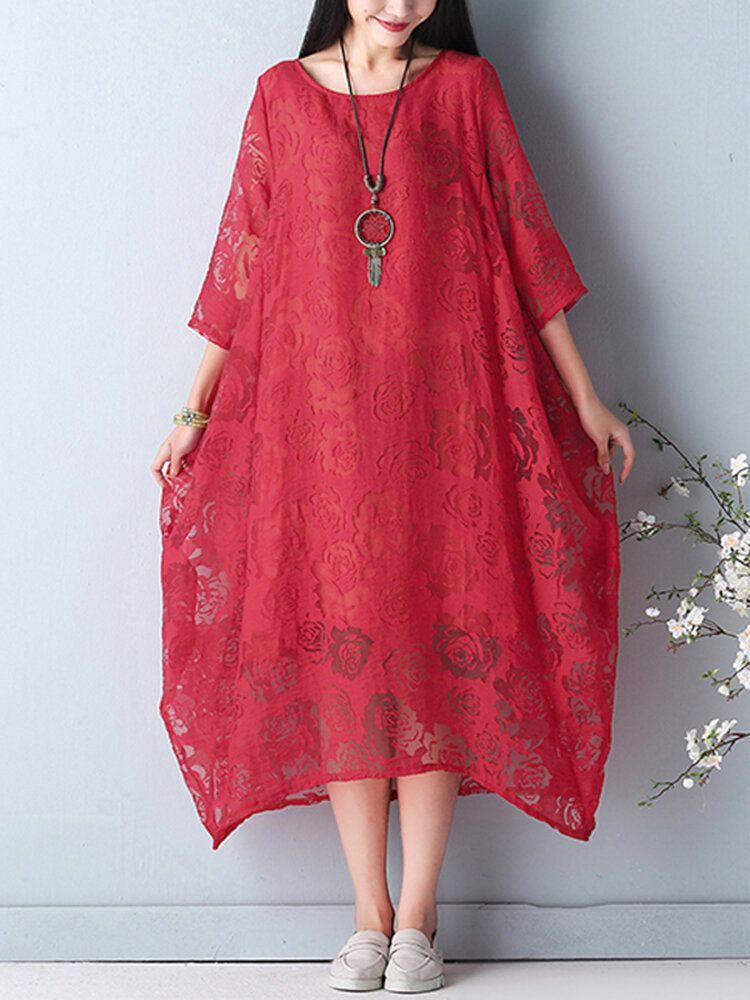 Elegant Women O Necklace Crochet 3/4 Sleeve Pure Color Midi Dress