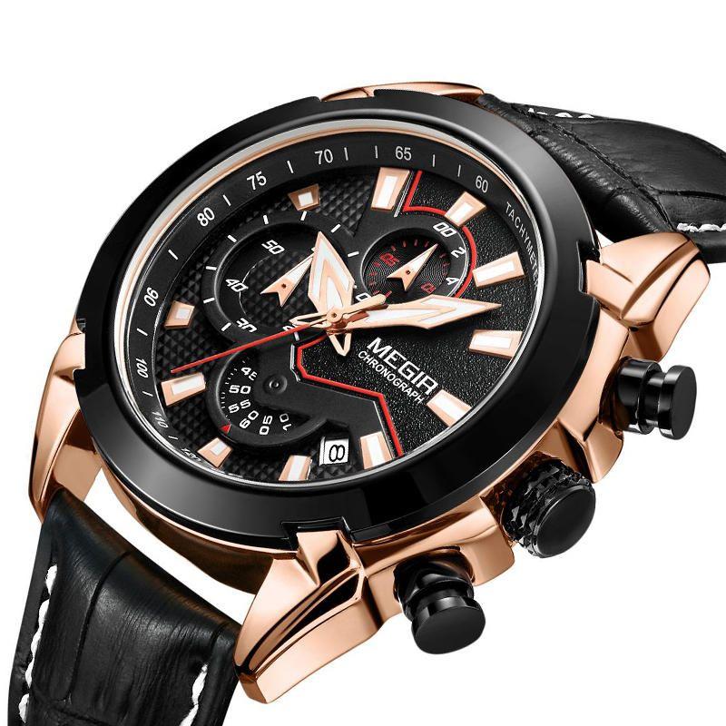 MEGIR 2065 Sport Watches Creative Chronograph Quartz Leather Strap Men Watch