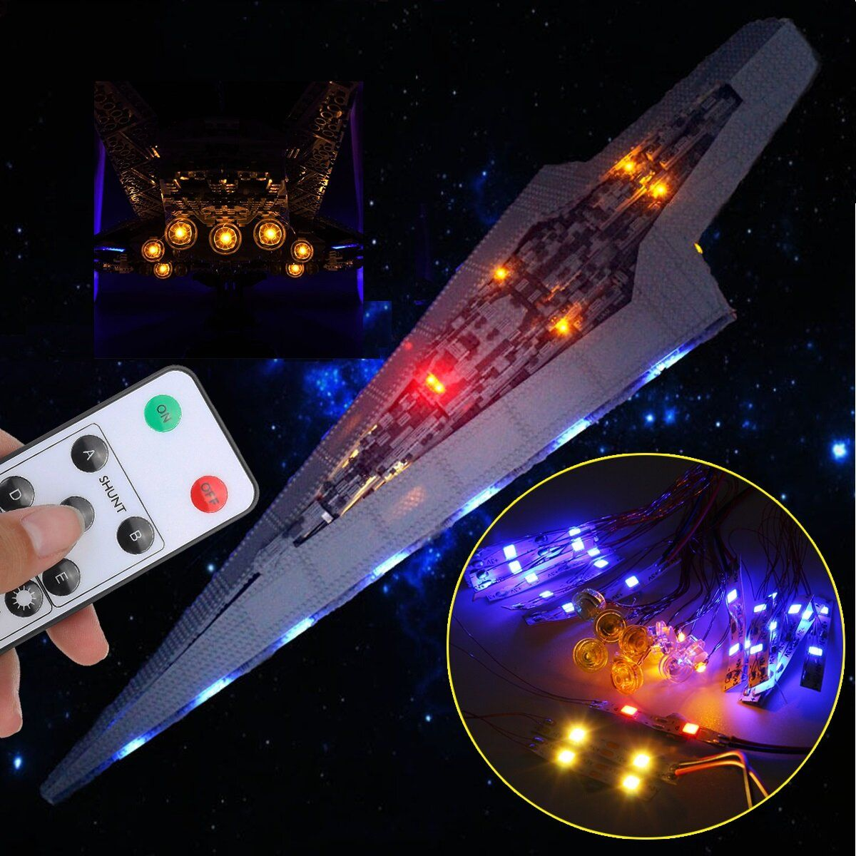DIY LED Rigid Strip Light Kit ONLY For LEGO 10221 Star Wars Super Star Destroyer Bricks Toy With Remote Control