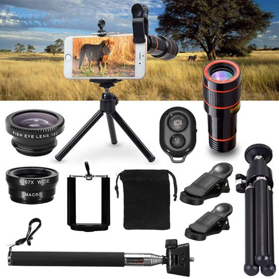 YVC US$15.16 All in1 Phone Camera Lens 12X Telescope Selfie Stick Tripod bluetooth Remote Kit
