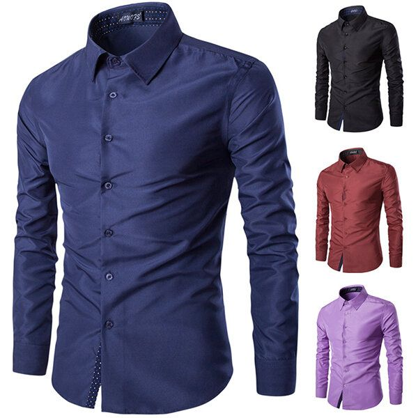 Mens Fashion Cotton Solid Color Turn down Collar Casual Long Sleeve Dress Shirt