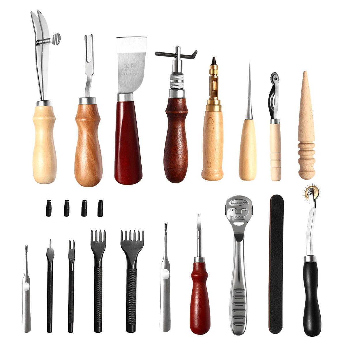 Leather Craft Tool Kit 18pcs Stitching Carving Working Sewing Saddle Groover Leather Craft DIY Tool
