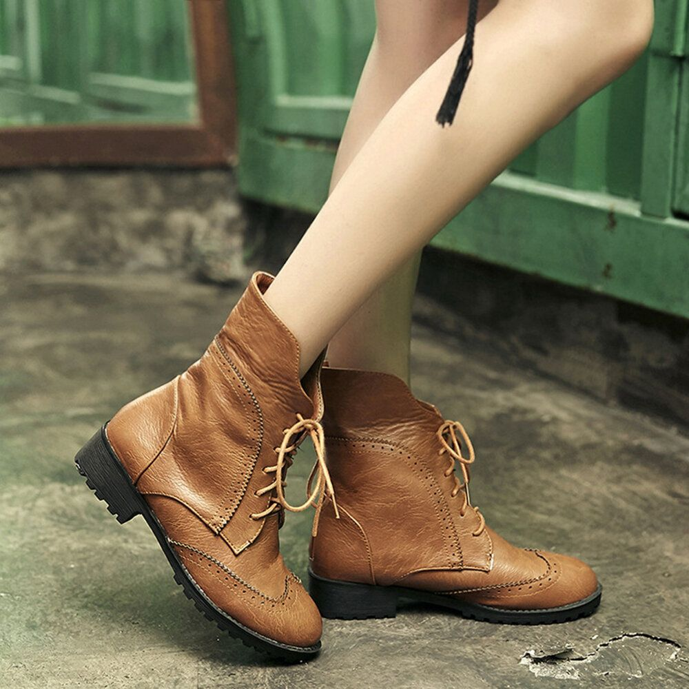 Women Genuine Leather Cuffed Thick Heel Lace up Ankle Boots