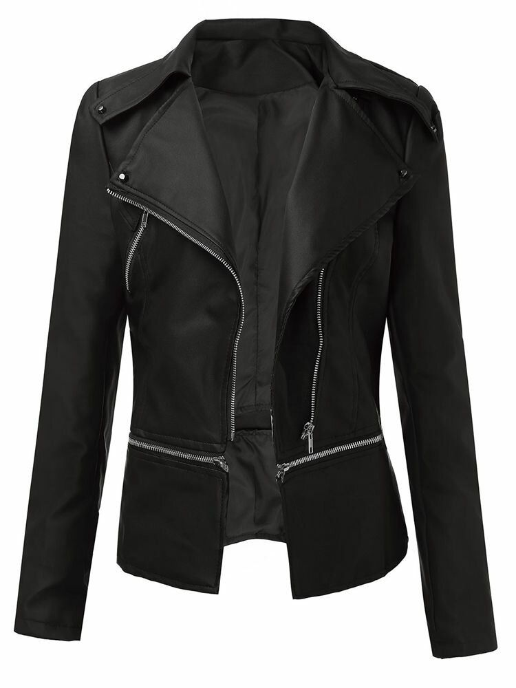 Women's Long Sleeve Artificial Leather Zipper Jacket Outwear