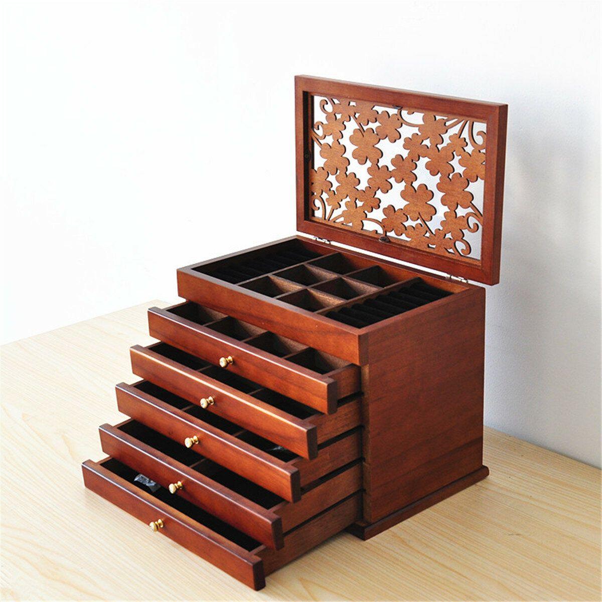 Luxury Multi Layer High Gloss Wooden Jewelry Box Stylish Retro Storage Jewelry Box