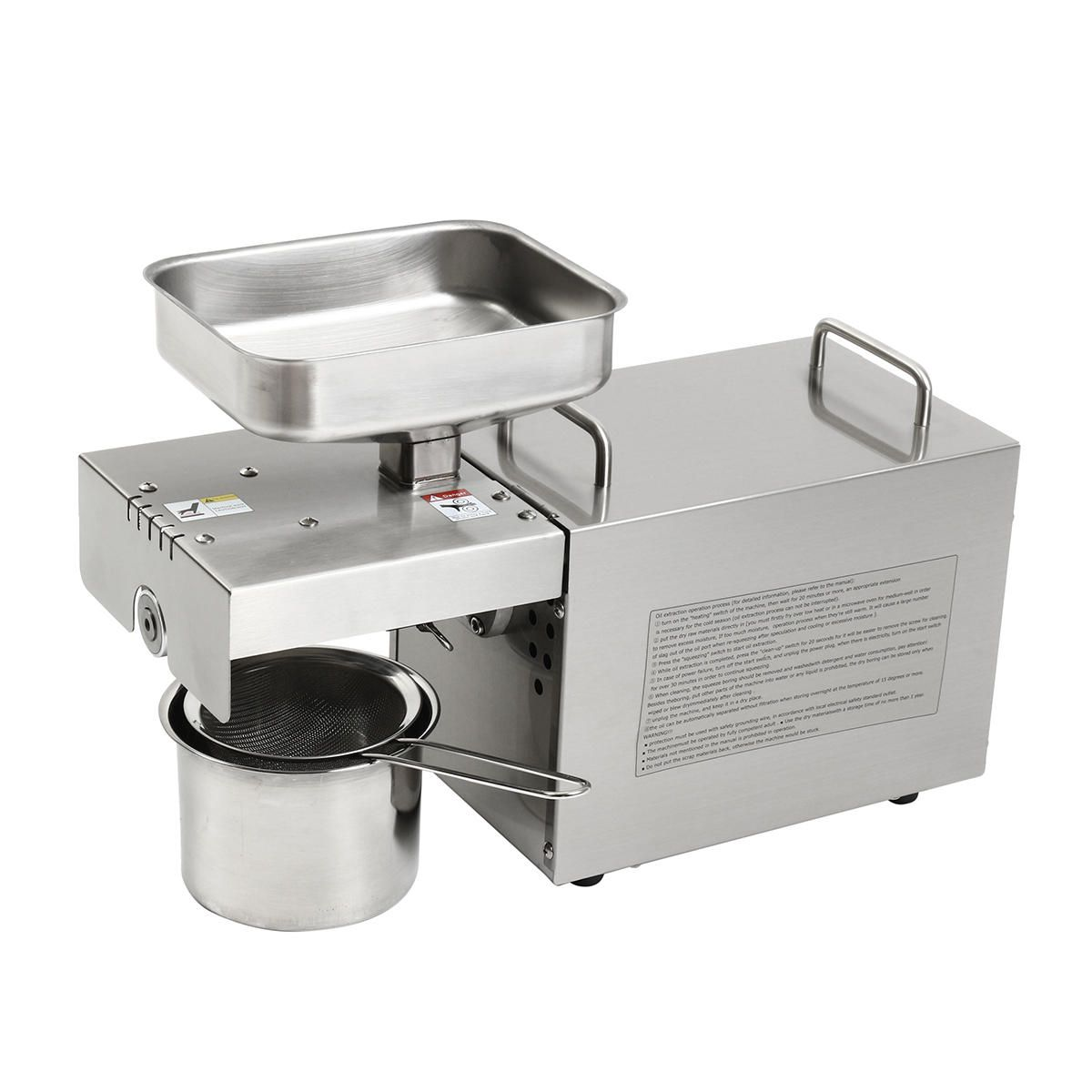 CDM US$457.21 220V Automatic Small Oil Press Machine Stainless Steel Cold Hot-press Machine