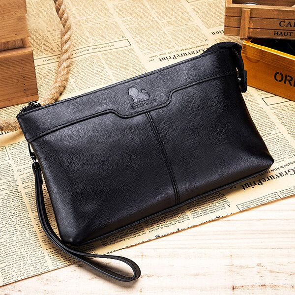 Men Genuine Leather Large Capacity Multi functional Business Vintage Phone Bag Clutch Bag