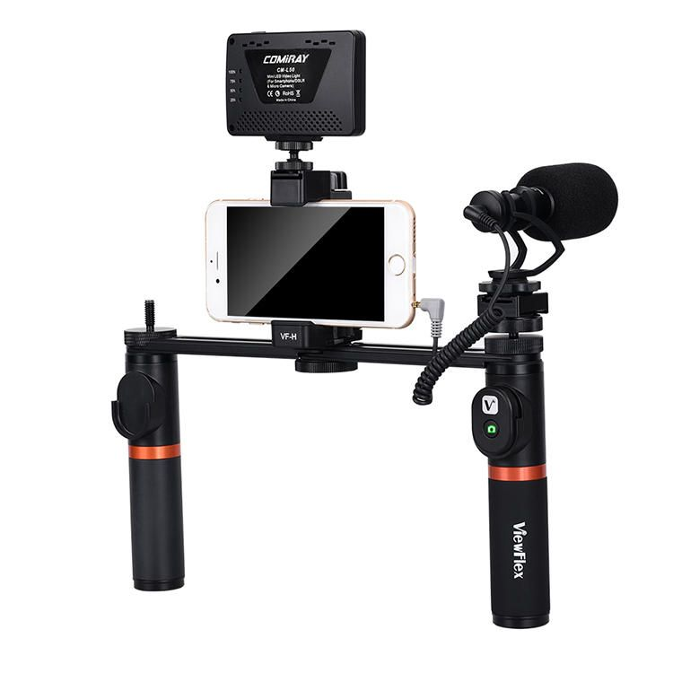 VIEWFLEX VF H7 bluetooth Electronic Video Grip Stabilizer with Smartphone Clamp LED Light Microphone Remote Control 2 x Handle 2 x Connecting Rod for iPhone for Samsung for Huawei Smartphones