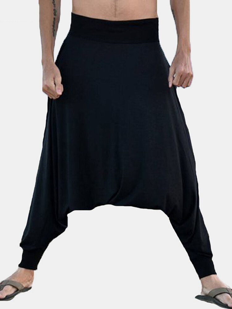 Mens Low Crotch Loose Slouchy Pants Baggy Trousers
