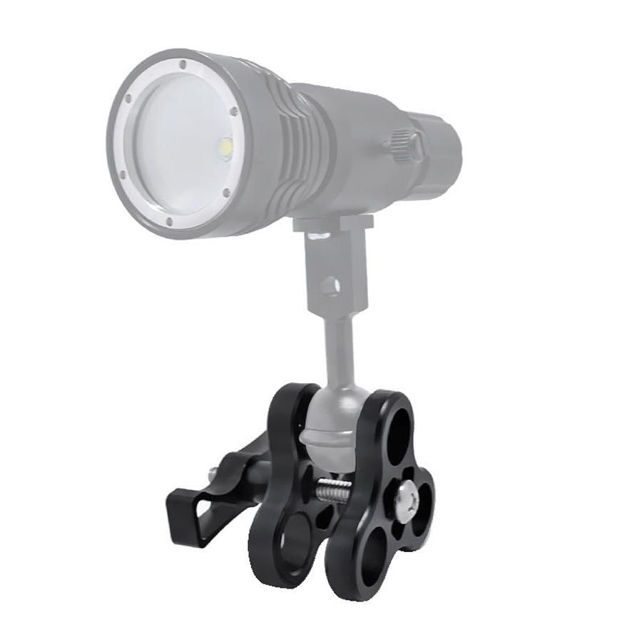 DUL US$13.88 3-Hole Underwater Butterfly Clip Bracket Holder for Diving Light Arms Camera Arm Diving Flashlight