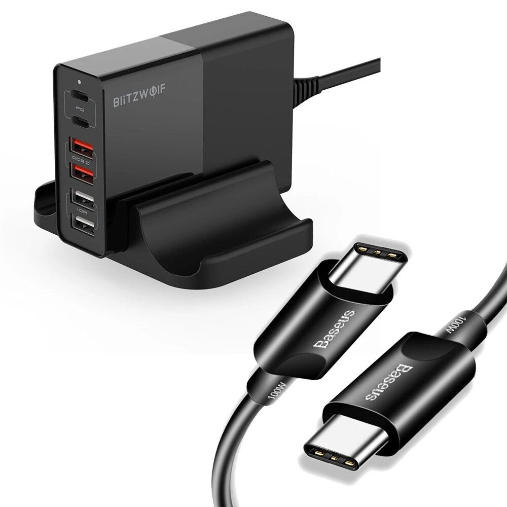 BlitzWolf® BW S16 75W 6 Port USB PD Charger Desktop Charging Station Fast Charging EU Plug Adapter With Baseus 1.5m/4.92ft 100W 5A PD USB C to USB C Cable For iPhone 11 SE 2020 For iPad Pro 2020 MacBook Air 2020 For Samsung Galaxy S20 Tab S7+