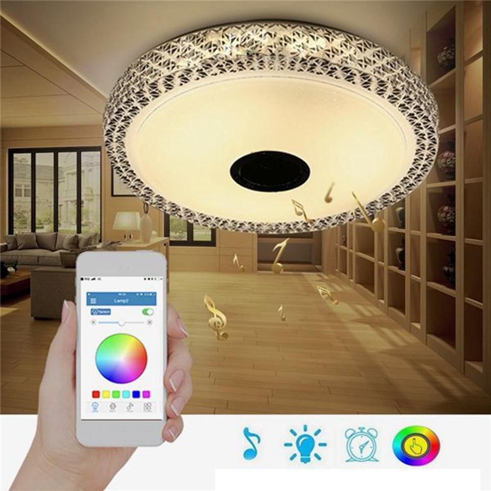 48W RGB Smart Dimmable 36 LED Ceiling Light bluetooth Speaker APP Control Lamp AC110 260V