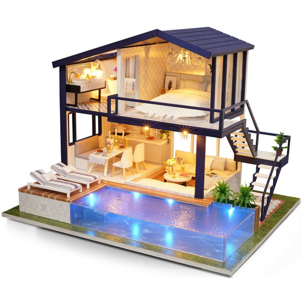 Cuteroom A 066 Time Apartment DIY Doll House With Furniture Light Gift House Toy