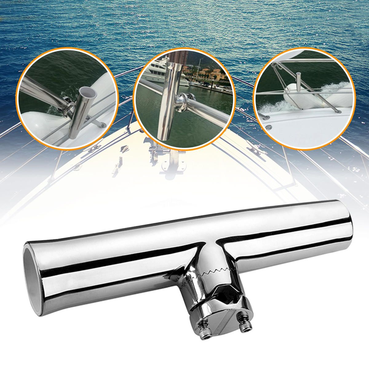 KFV US$47.14 316 Stainless Steel 7/8''-1'' Tube Fishing Rod Holder Boat Tackle Clamp On Rail Mount