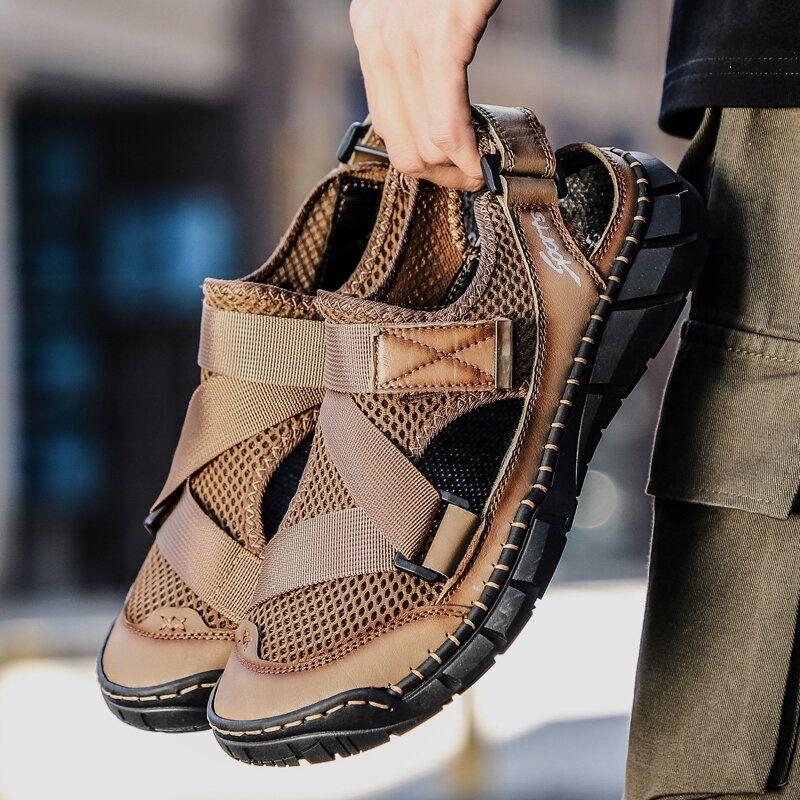 Men's Cowhide Mesh Large Size Breathable Soft Bottom Non slip Sandals