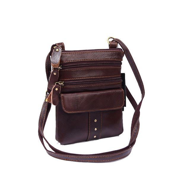 Genuine Leather Multi pocket Shoulder Bag For Men