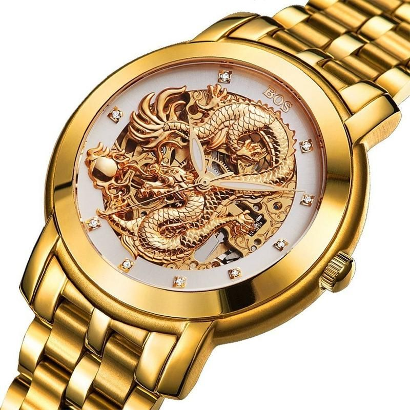 ANGELA BOS 9007 Automatic Wind Mechanical Watches Dragon Collection Stainless Steel Strap Men Watch