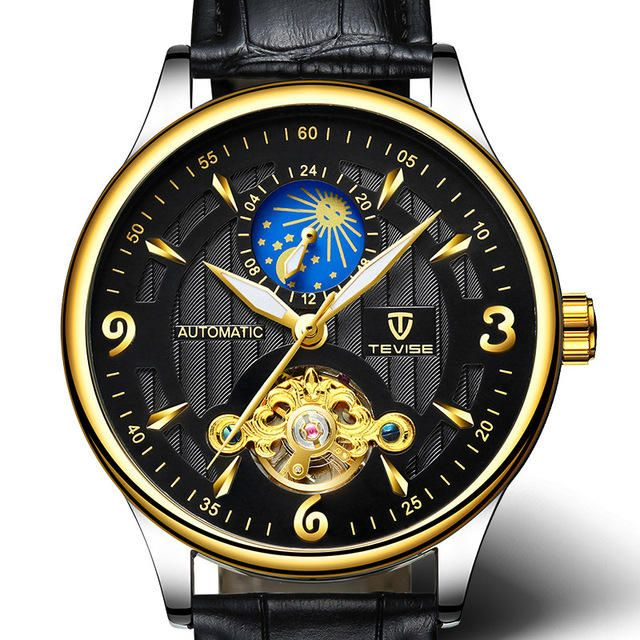 TEVISE T820B Casual Moon Phase Automatic Mechanical Watch Luxury Leather Strap Men Watch