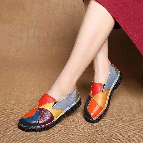 SOCOFY Shoes Women Splicing Flats