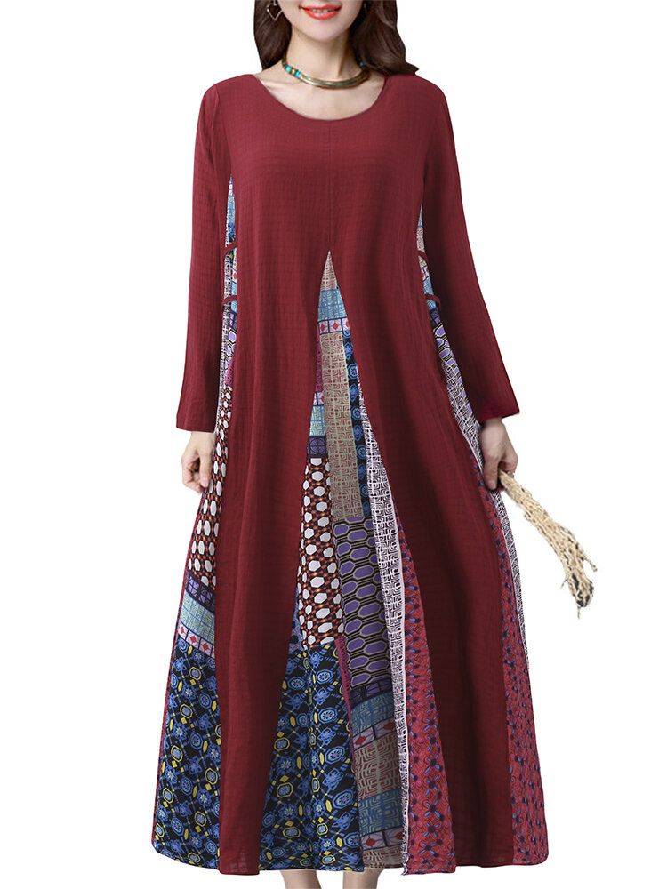 Vintage Women Printed Stitching Long Sleeve Dress