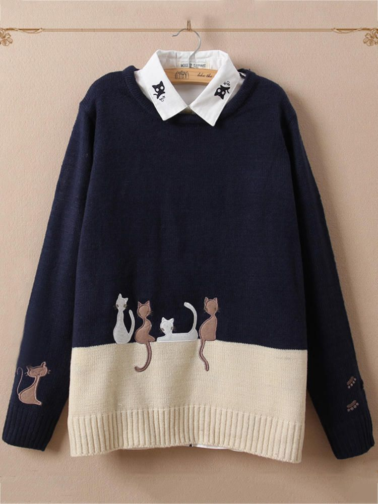 Casual Women Cat Color Patchwork O Neck Sweaters