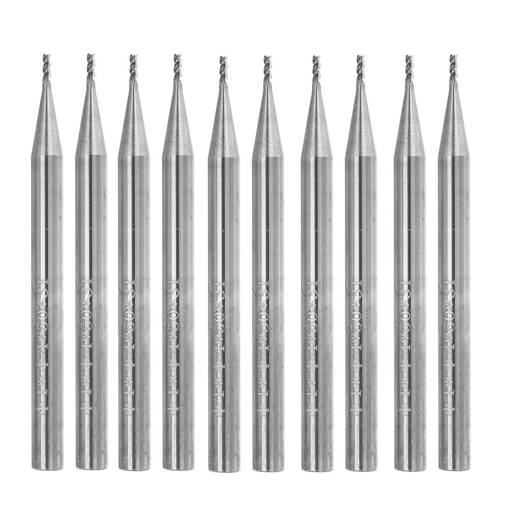 Drillpro 10pcs 1mm HRC58 3 Flutes End Mill Cutter Tungsten Carbide CNC Milling Cutter Tool for Aluminum