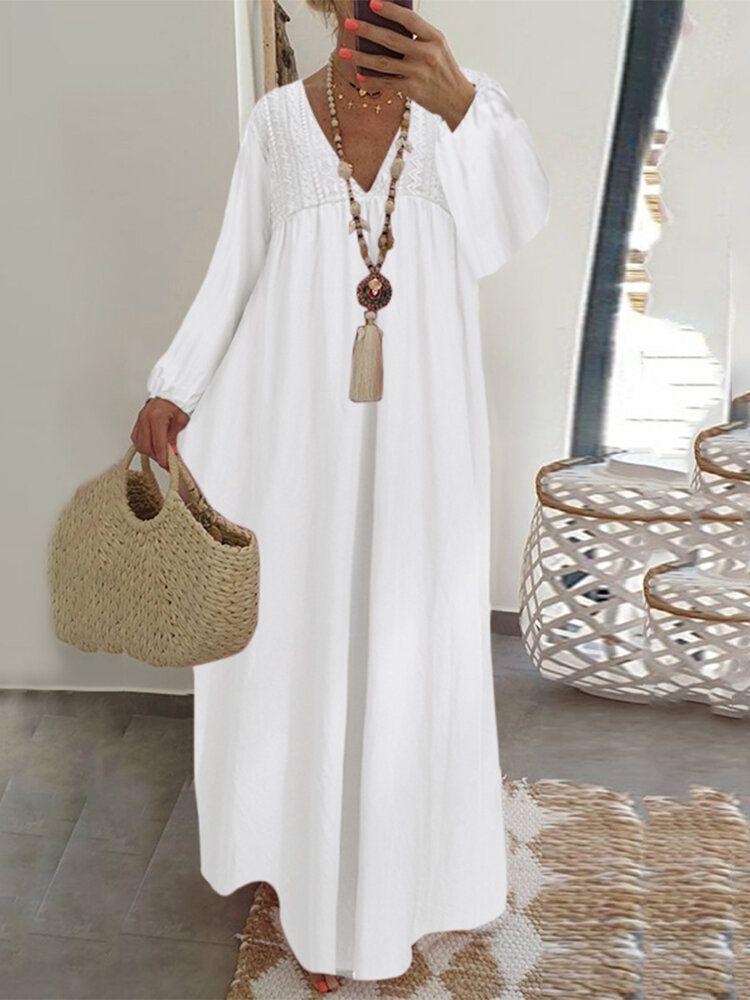 Lace Stitching V neck Long Sleeve Elastic Cuffs Loose Casual Maxi Dress