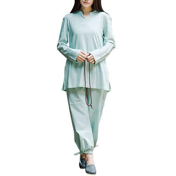 Women Fitness Yoga Suit Cotton Linen Yoga Clothing Set Meditation Health Sportswear