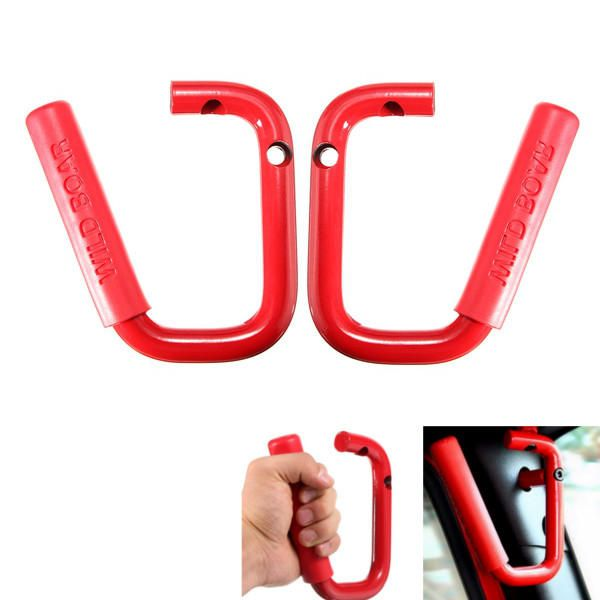 Pair Red CR V Wild Bar Front Grab Handle Car Interior Grip For 2007 2016 Jeep Wrangler