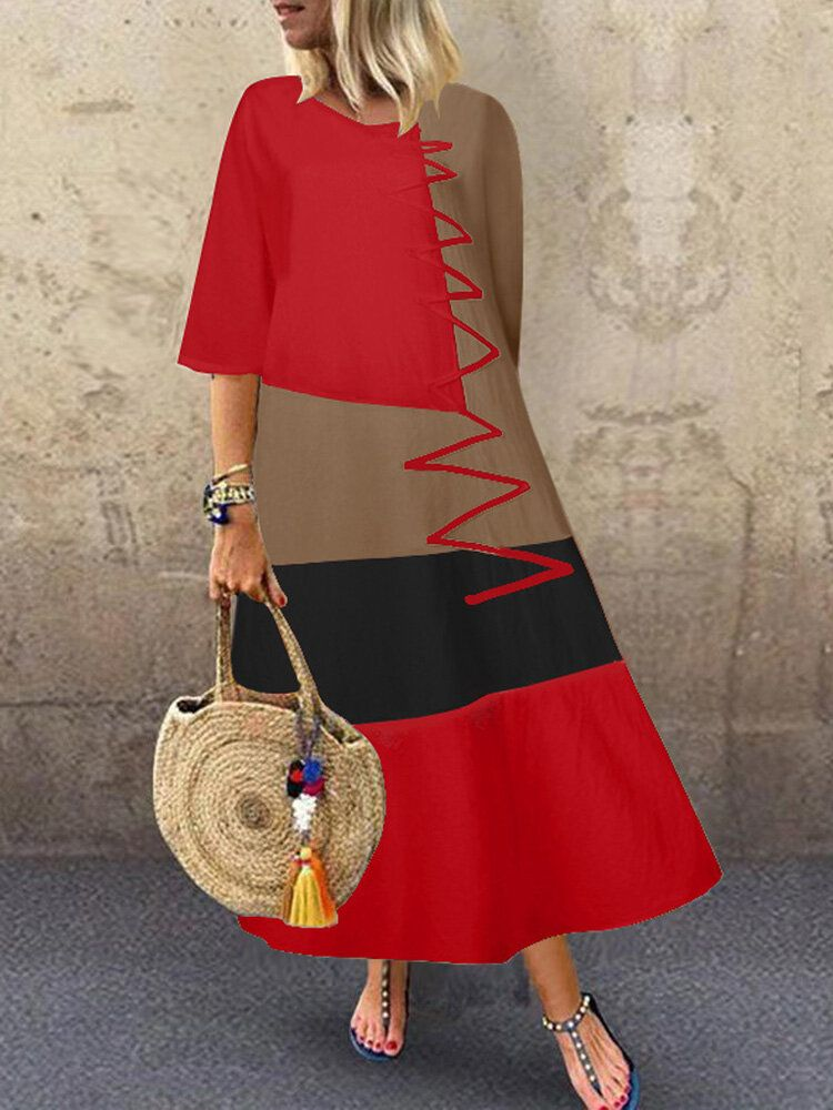 Women Casual Stitching Contrast Color Half Sleeve Baggy Maxi Dress