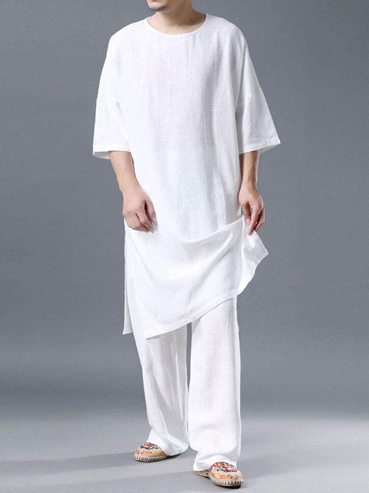 Lightweight Plain Cozy Loose Linen Set O Neck Breathable Home Co ords for Men